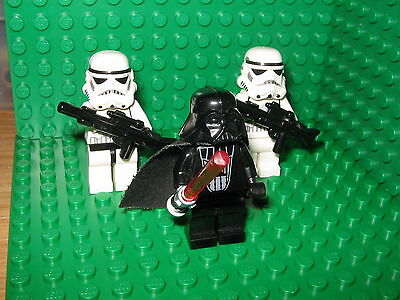3 x LEGO Minifigures - Star Wars Darth Vader & Original Storm Troopers GENUINE