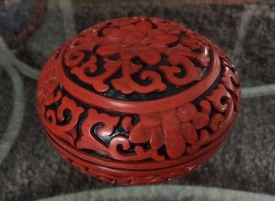 Vtg Chinese Carved Red Cinnabar Lacquer Round Lidded Trinket Box Beautiful XLNT!