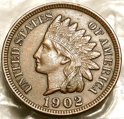1902 Indian Head Cent. Extra Fine Coin Full Liberty. Bold Date. Full Rims.  #152