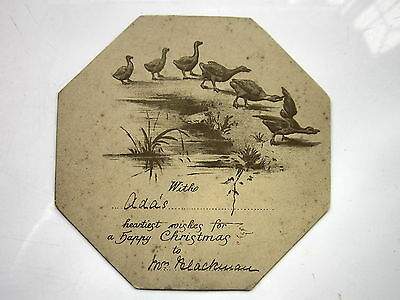 EARLY CHRISTMAS CARD SEPIA GEESE  OCTAGON SHAPE - HEARTIEST WISHES for a HAPPY