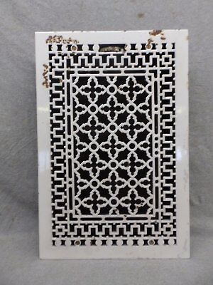 Large Antique Porcelain Cast Iron Gothic Rare Heat Grate Register 12x19 129-17R