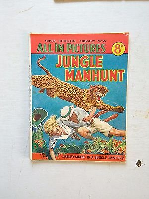 SUPER DETECTIVE LIB NO 27  JUNGLE MANHUNT  1950,s  LESLEY SHANE MYSTERY