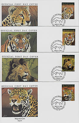 MARSHALL Is. FDC x 4: 1996 Majestic Big Cats + Majuro Special Cancels