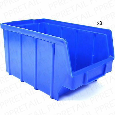8 x LARGE & DEEP STORAGE CONTAINERS Long Strong Stacking Box/Tray/Tub HEAVY DUTY