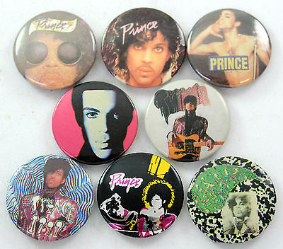 PRINCE BADGES 8 x Vintage Prince Button Badges * Purple Rain *