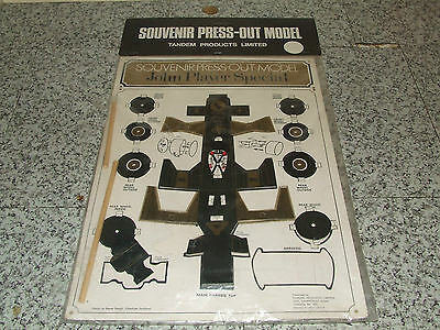 Vintage JPS John Player Special F1 Racing Car Press Out Model Tandem Products