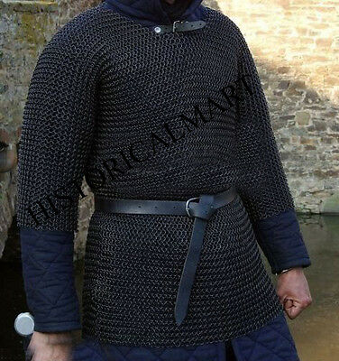 CHAINMAIL HAUBERGEON BUTTED MILD STEEL SHIRT & BLUE COLOR PADDED GAMBESON L-Size