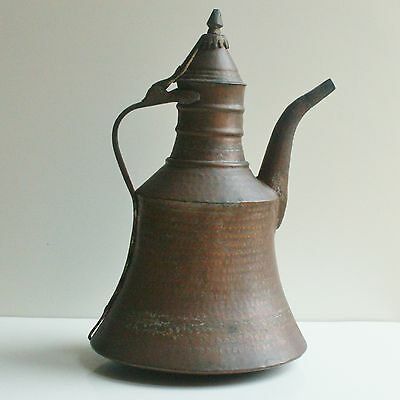 "Huge 15.4"" Large Antique Islamic Arabic Copper Kettle Pitcher Middle East"