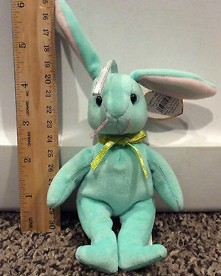 "RARE~2001 TY ""HIPPITY"" Basket Beanie bunny pale green with tag"