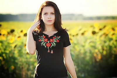 Ukrainian embroidered sorochka, t-shirt, blouse, vyshyvanka, embroidery, Size L