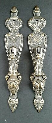 "2 Lg.Ornate Vertical Teardrop Brass Handle Drawer Pulls 5 7/8"" #H19"