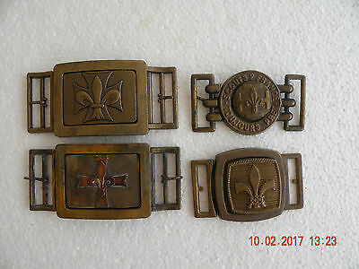 Boy Scouts France LOT OF 4 & Belt Buckles