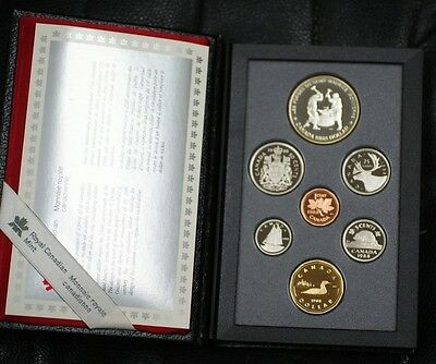 1988 Canada Proof Set 7 Gem Coins in Leather Case Double Dollar Set with Box