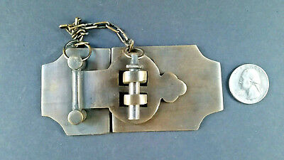 "Unique Vintage Cabin Cabinet Door Latch Hook Solid Brass Hasp Lock Gate 4"" #X2"