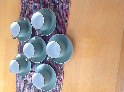 1 Set of 12 Denby England Regency Green Espresso cup and Saucers