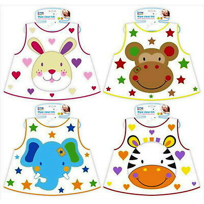 Baby Bib Wipe Clean Animal Feeding Dribble Boy Girl Toddler Plastic Mealtime 6m+