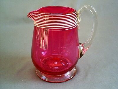 Lovely Antique Victorian Cranberry Glass Milk Jug With White Trailed Decoration
