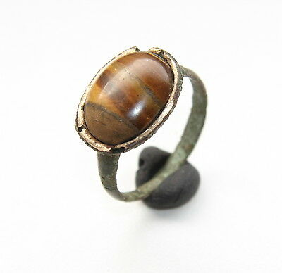 Ancient Medieval Bronze Finger Ring With Tiger's Eye Gemstone Inlay (OCR)
