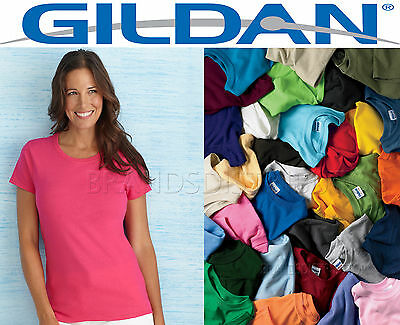100 Gildan Women's Any Color Blank T shirts BULK LOT S-XL wholesale Plain Ladies