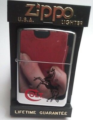 1996 Colt Firearms Chrome Zippo Advertising Cigarette Lighter Unfired
