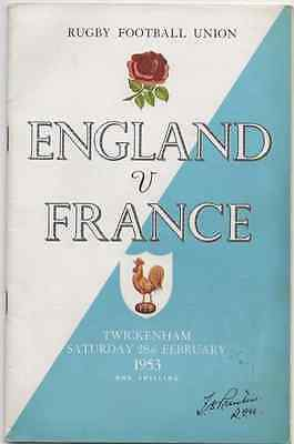 1953-England V France-Five Nations Champions-International Test Rugby Programme