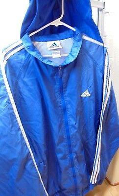 Adidas Mens Womens Jacket XXL Vintage Blue White Zip Front Hooded 2X Hoodie