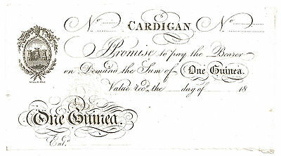 Cardigan One Guinea Banknote, Wilkins,Wilkins,Jones,Church & Co. Outing 427b UNC