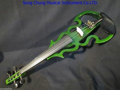 Beautiful green Song streamline 4/4 electric violin,solid wood #7856