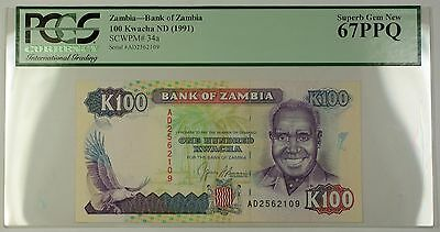 (1991) No Date Bank of Zambia 100 Kwacha Note SCWPM# 34a PCGS Superb Gem 67 PPQ