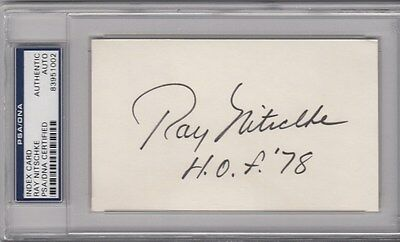 Ray Nitschke HOF Signed Autographed 3 X 5 Index Card Packers PSA/DNA *1002