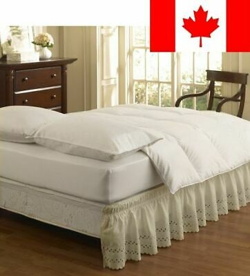 Easy Fit Ruffled Eyelet Bed Skirt, Queen/King, Ivory