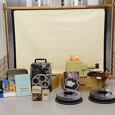Bell & Howell Movie Film Projector and screen slide show Bundle
