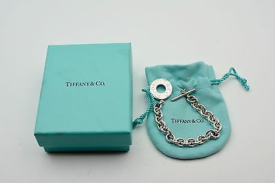 Vintage Authentic Tiffany & Co 1837 Silver Bracelet 925 Circle Locker Toggle