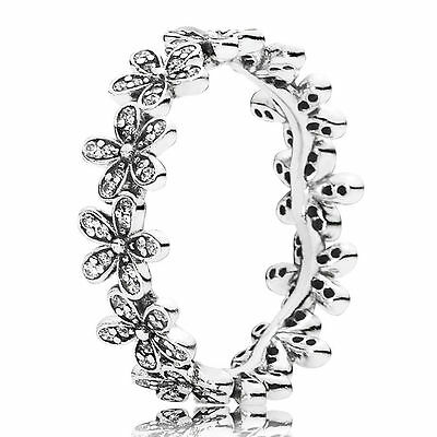 Genuine Authentic Pandora Silver Dazzling Daisy Band Ring 190934Cz Size 52