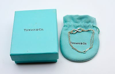 Authentic Tiffany & Co Infiniti Silver Bracelet 925 Double Chain