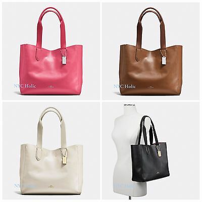 39ba1896408f NEW Coach F58660 Derby Tote In Pebble Leather Saddle Black Chalk Strawberry  NWT