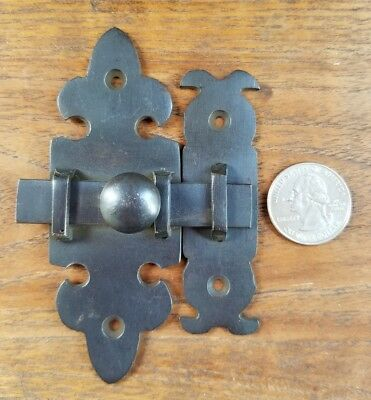 "Ornate Antique Type Solid Brass Door Latch Lock Bolt Barn Gate Cabinet 4"" #X7"