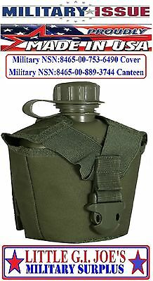 Military Issue OD Green Molle II Canteen Cover & Canteen Tactical Assault Gear