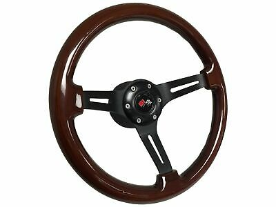 1969 - 1989 Chevy Mahogany Wood Steering Wheel Kit | Cross Flags Emblem