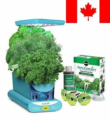 Miracle-Gro AeroGarden Sprout LED with Gourmet Herb Seed Pod Kit, Teal
