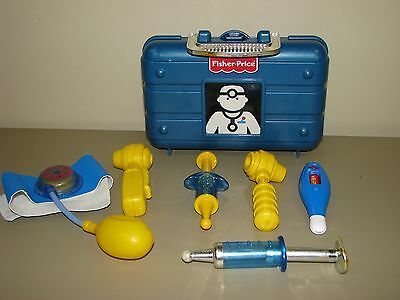 Fisher Price toy DOCTOR medical kit blue case blood pressure cuff syringes scope