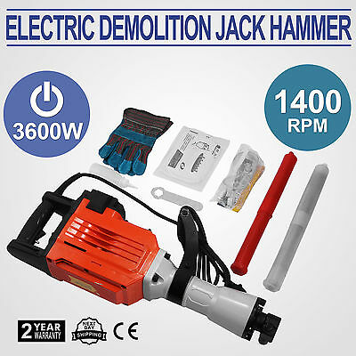 3600W Electric Demolition Jack Hammer Breaker 95mm Concrete Business Squaring