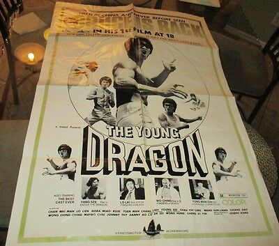 "Movie Poster The Young Dragon Kung Fu ( Bruce Lee Knockoff ) 40"" X 27"""