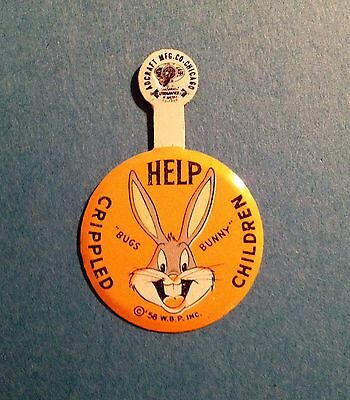 Vintage 1956 Bugs Bunny Advertising Fundraising Button * Help Crippled Children