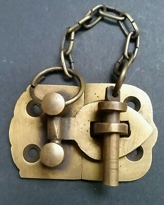 "Unique Vintage Cabin Cabinet Door Latch Solid Brass Hasp Lock Gate 1 3/4"" #X4"