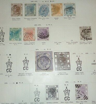 lot early Hong kong stamp used hinged to 19th C album pages