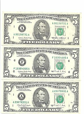 US paper money $5 of  1985 1988 1988A