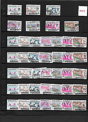 Malaysia / Malaya Definitive 1965 Orchid Flowers 91pcs Used Complete