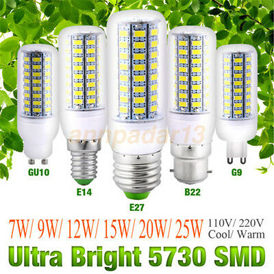 Bright E27 E12 B22 GU10 E14 G9 5730 SMD LED Bulb Lamp Light White AC 110V/220V