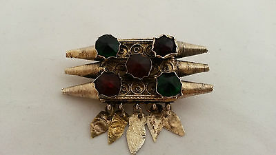 Antique Folk Ottoman Silver Gild Filigree Brooch